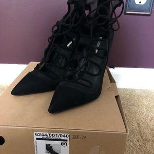 Zara Shoes - Zara suede mesh lace up bootie black